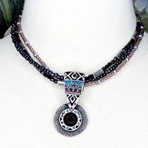 Chico's Multi Strand Rhinestone Pendant Necklace